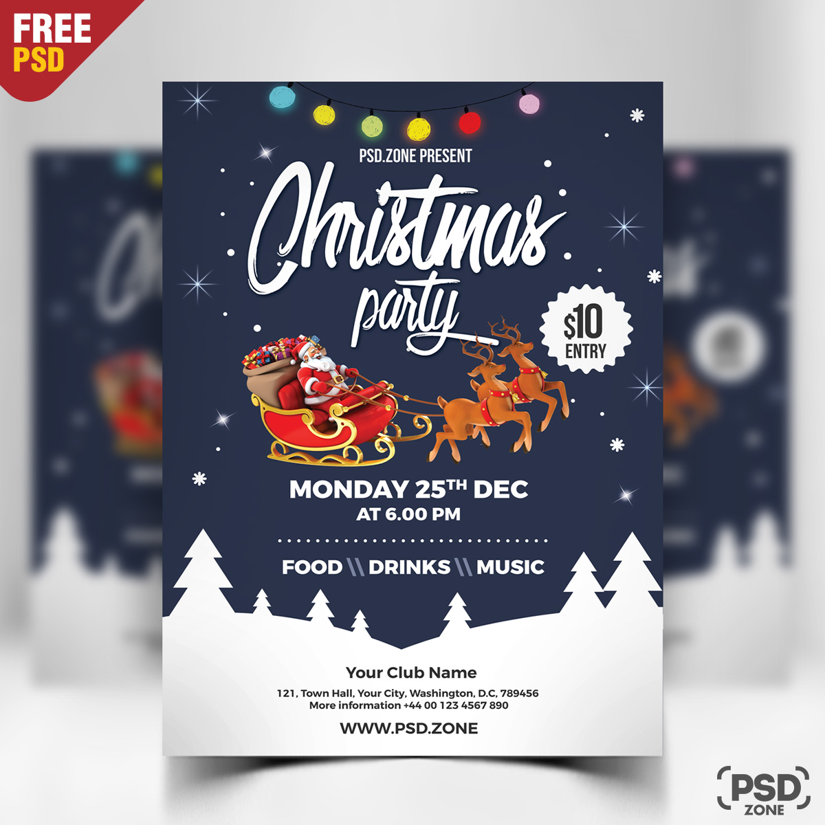 Christmas Party Flyer Free PSD