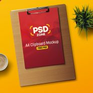 A4 Paper Clipboard Mockup Free PSD