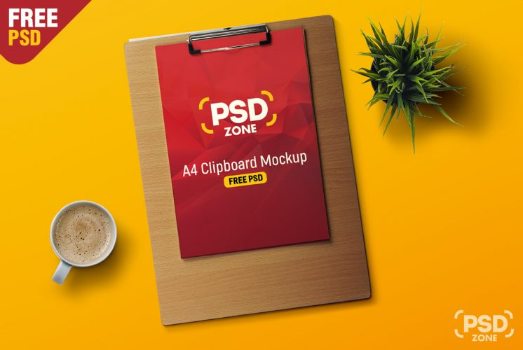 A4 Paper Clipboard Mockup Free PSD