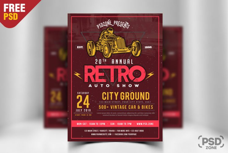 Classic Car Show Flyer Free PSD