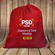 Drawstring Sack Mockup Free PSD
