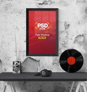 Flyer Poster Frame Mockup Free PSD