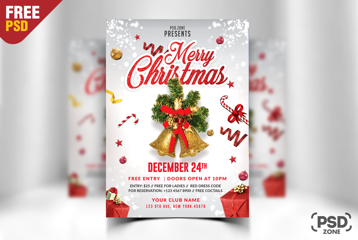 merry christmas flyer free psd psd zone
