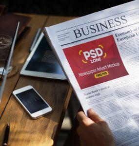 Newspaper Advert Mockup Free PSD