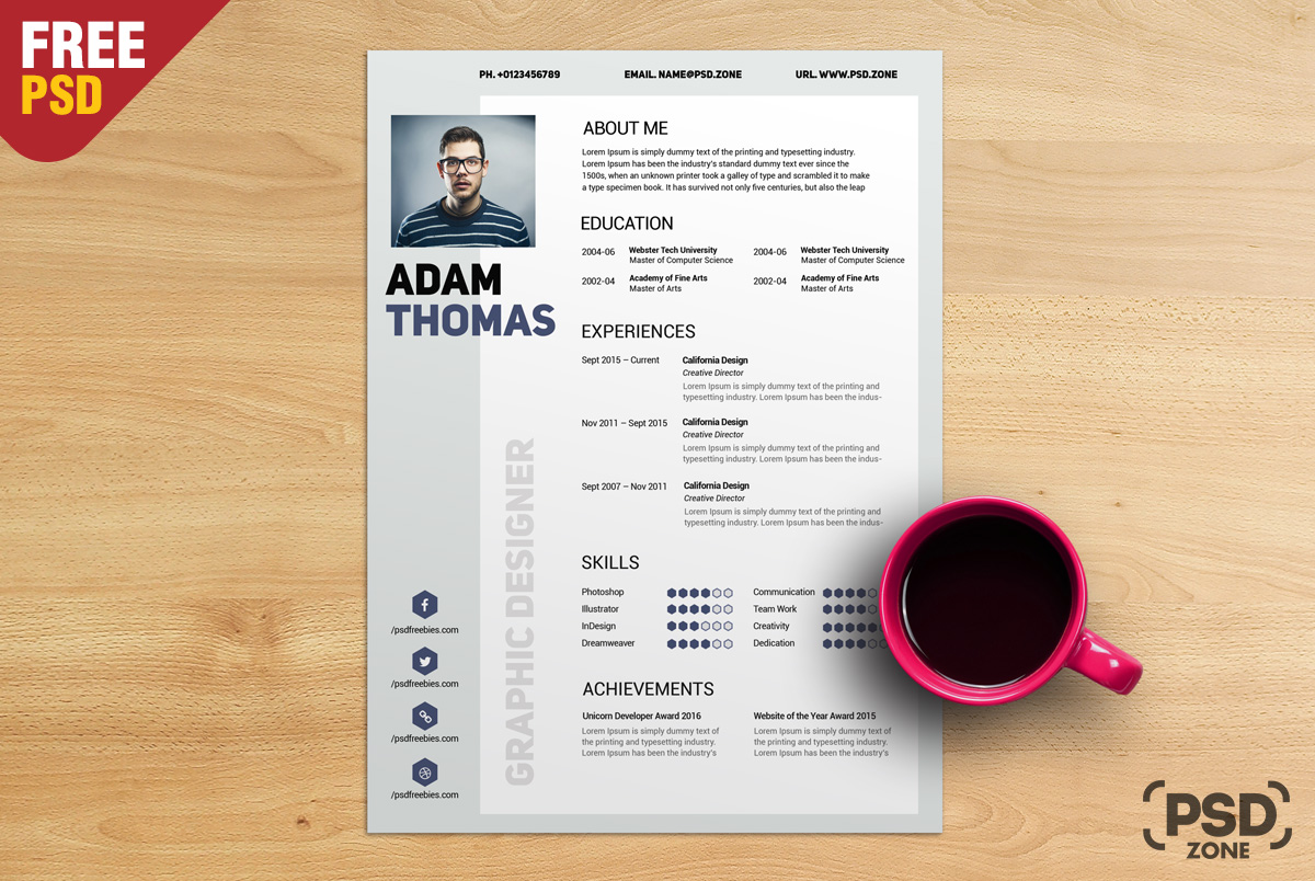 clean resume cv free psd