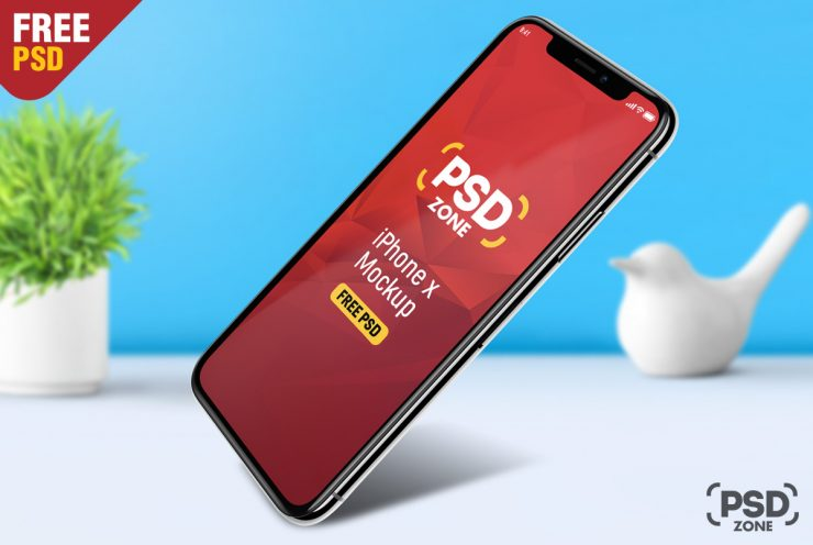 Floating iPhone X Free Mockup PSD