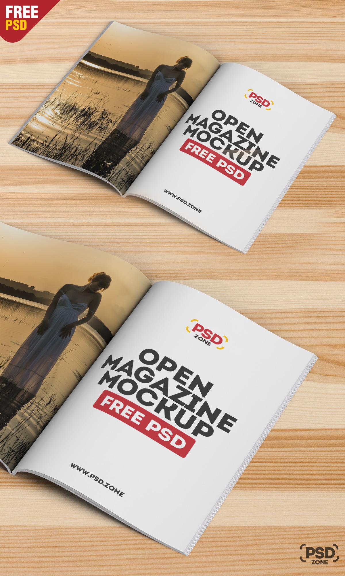Open Magazine Mockup Free PSD