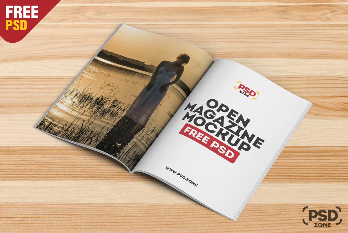 Open Magazine Mockup Free Psd Psd Zone