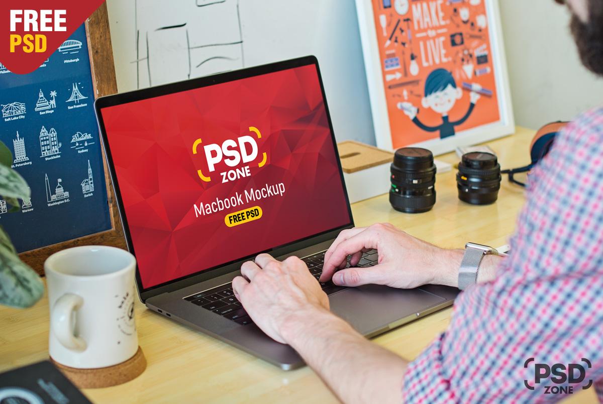 Man Working on Macbook Mockup PSD - PSD Zone