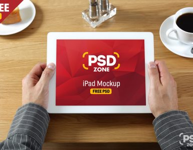 iPad in Hand Mockup Free PSD