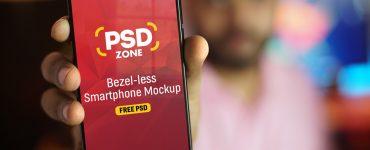 Bezel-less Smartphone Mockup PSD