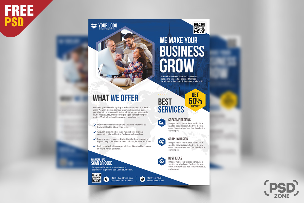 Business flyer free psd bundle psd zone for Business flyer psd