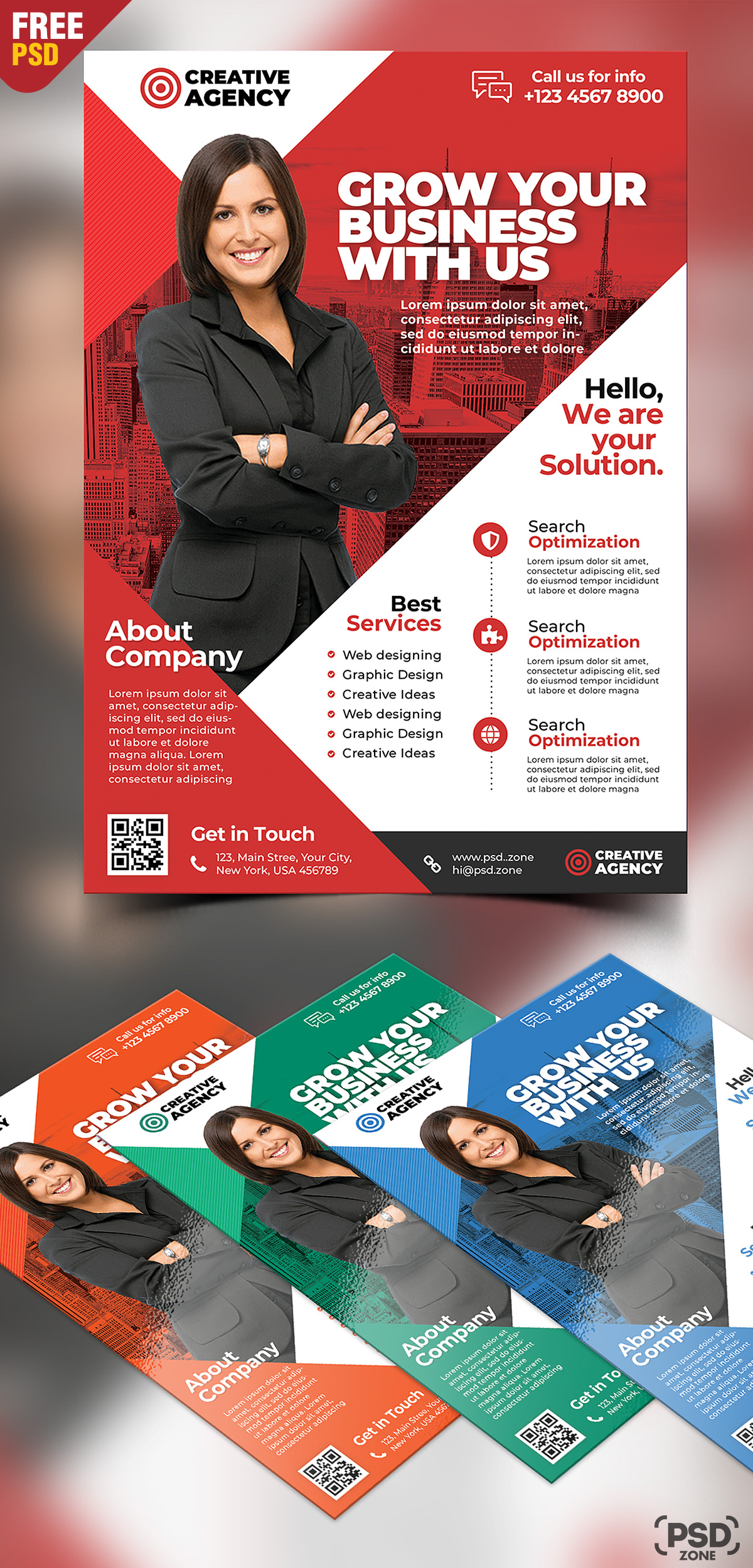 Corporate Business Flyer Free PSD Set