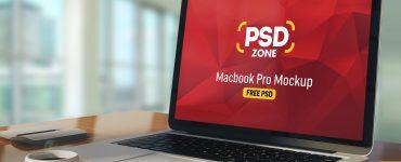 Macbook Pro on Table Mockup PSD