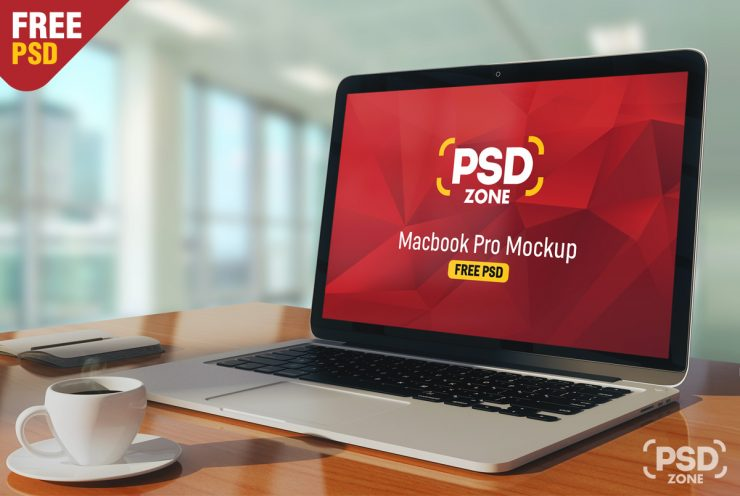 Macbook Pro on Table Mockup PSD