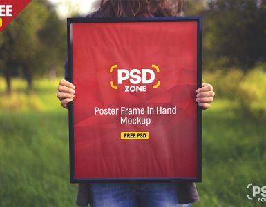 Poster Frame in Hand Mockup Free PSD