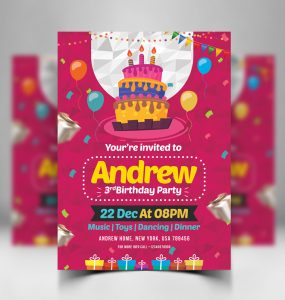 Birthday Invitation Card Design Free PSD