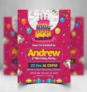 Birthday Invitation Card Design Free PSD