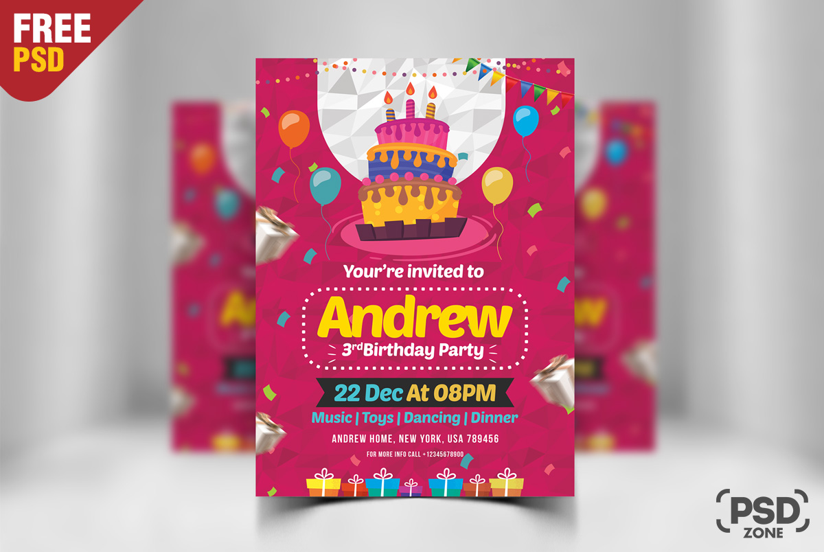 Birthday invitation card design free psd psd zone birthday invitation card design free psd stopboris Image collections
