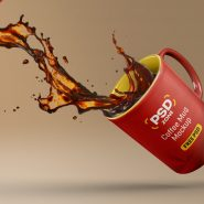 Floating Coffee Mug Mockup Free PSD