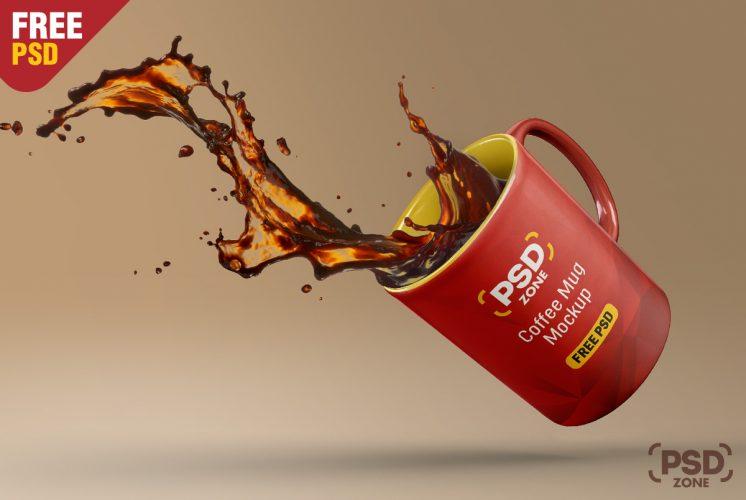 Floating Coffee Mug Mockup Free PSD