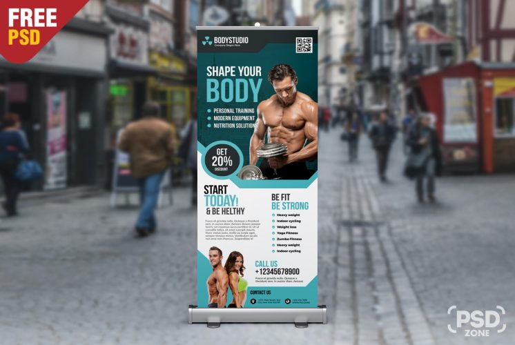 Gym Roll Up Banner Free PSD