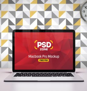 Macbook Pro on Desk Mockup Free PSD