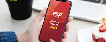 Male Hand Holding iPhone X Mockup PSD