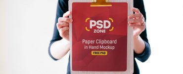 Paper Clipboard in Hand Mockup PSD