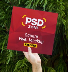 Square Flyer Mockup Free PSD