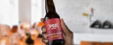 Beer Bottle Label Mockup PSD