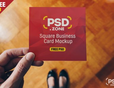 Square Business Card Mockup PSD
