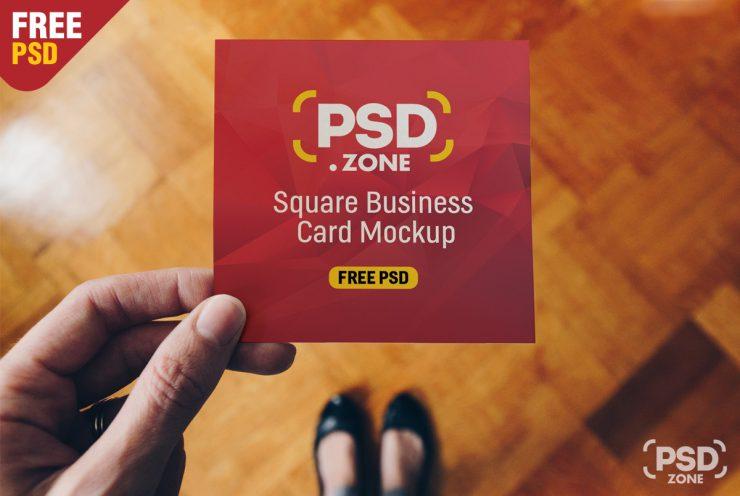 Square Business Card Mockup PSD