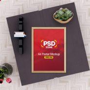 A4 Poster Frame Mockup PSD
