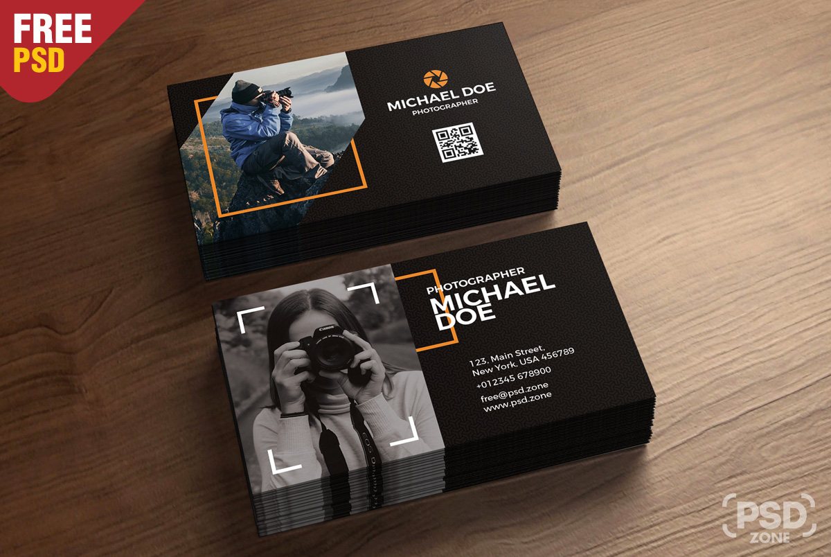 Photography business cards template psd psd zone today we have a new free psd for you and it is photography business cards template fbccfo Images
