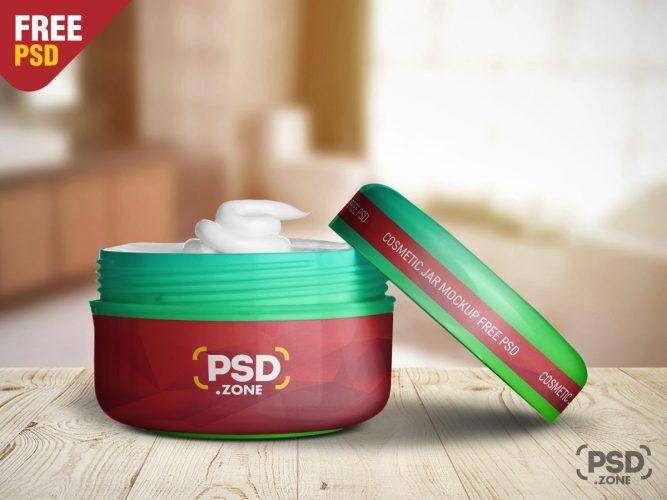Cosmetic Plastic Jar Mockup PSD
