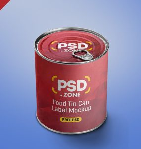 Food Tin Can Label PSD Mockup