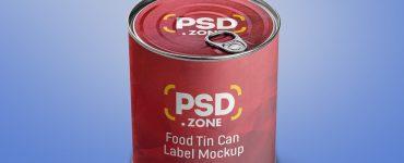Food Tin Can Label PSD Mockup