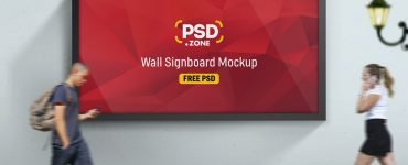 Road Side Wall Signboard Mockup Free PSD