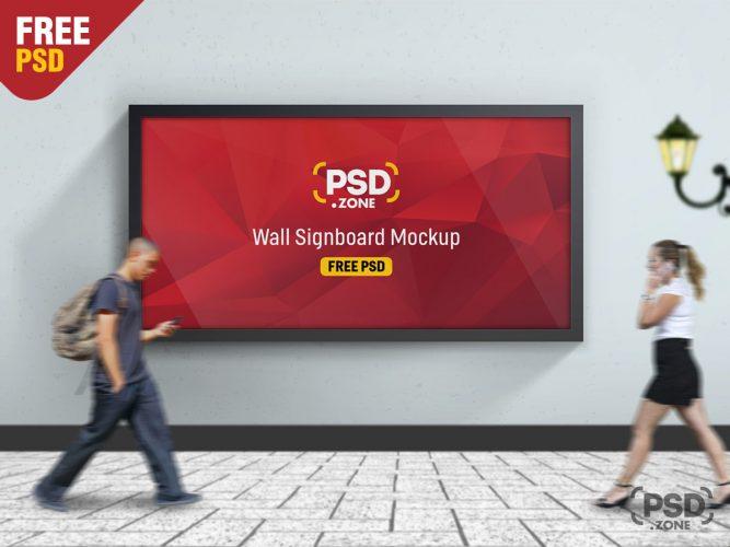 Road Side Wall Signboard Mockup Free PSD