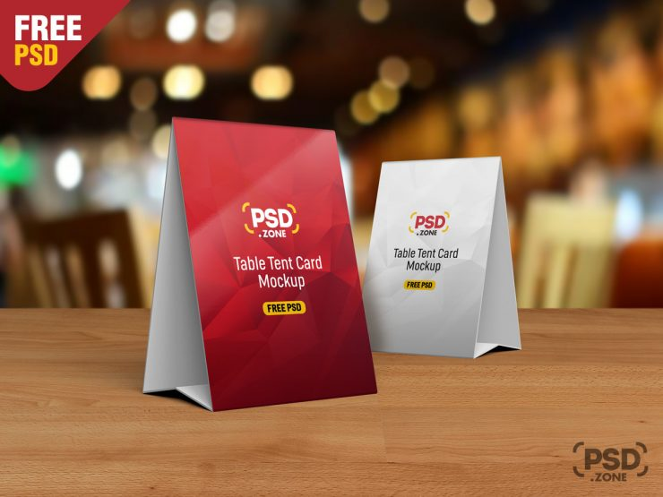Table Tent Card Mockup PSD