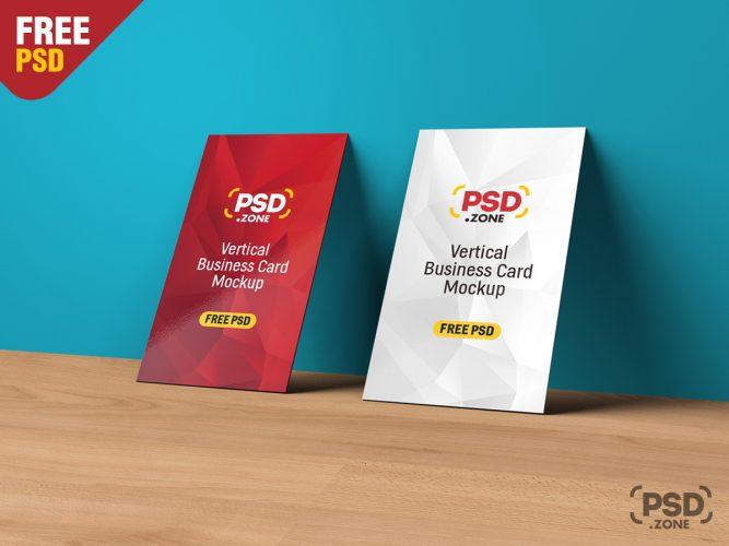 Vertical Business Card Mockup PSD