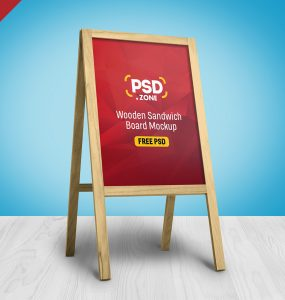 Wooden Sandwich Board Mockup PSD