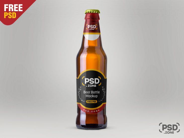Beer Bottle Mockup Free PSD
