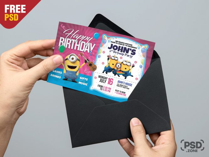 Birthday Invitation Card Template PSD