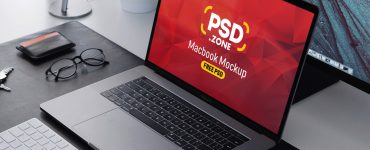 Macbook Pro on Workstation Mockup PSD