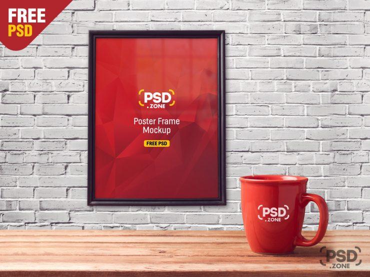 Poster Frame with Mug Mockup PSD