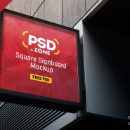 Square Sign Board Mockup PSD