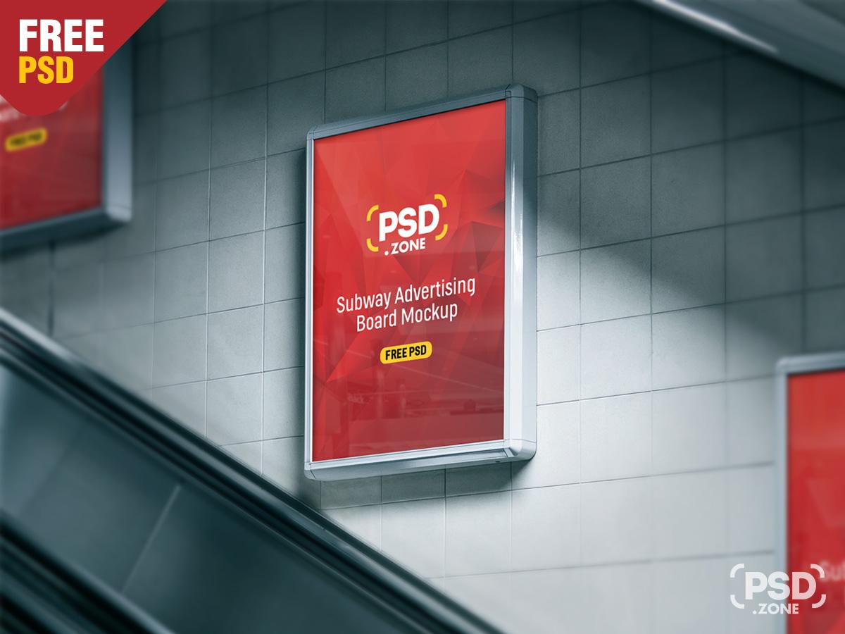 subway advertising board mockup psd