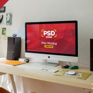 iMac Workstation Mockup Free PSD